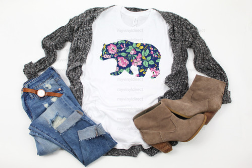 Floral Bear   Cotton Transfer