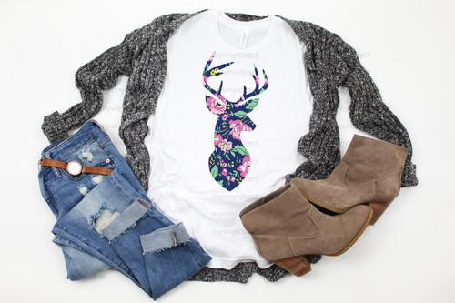 Floral Deer Head | Cotton Transfer