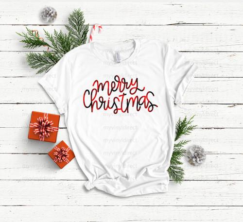 Merry Christmas Plaid   Cotton Transfer