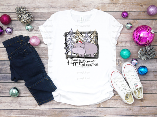 I Want A Hippopotamus for Christmas | Cotton Transfer