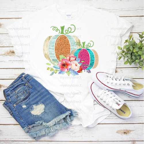 Glitter & Floral Pumpkins   Cotton Transfer