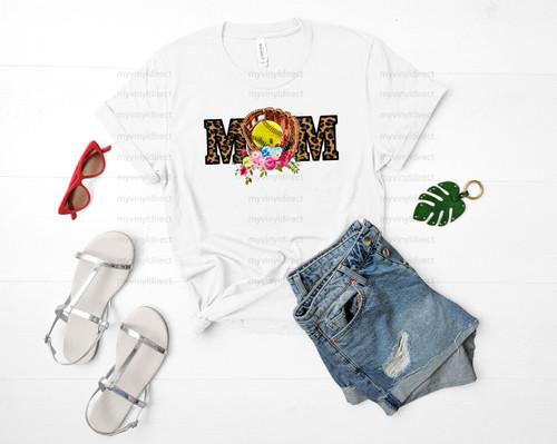 Softball Mom Leopard & Floral | Cotton Transfer