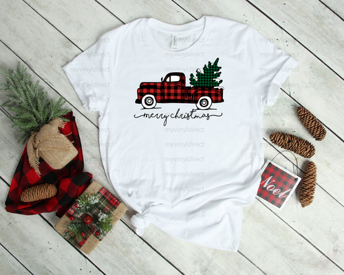 Red Buffalo Plaid Truck with Tree | Cotton Transfer