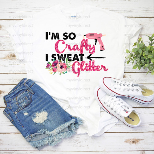 I'm So Crafty I Sweat Glitter | Cotton Transfer
