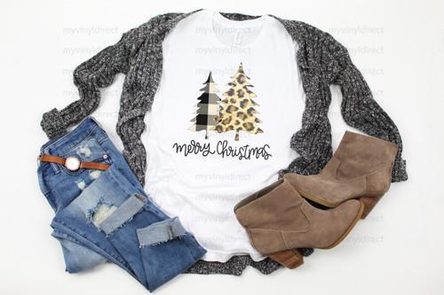 Leopard & Plaid Merry Christmas Trees | Cotton Transfer