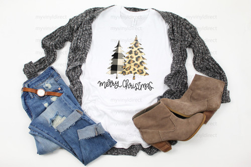 Leopard & Plaid Merry Christmas Trees | Cotton Transfer