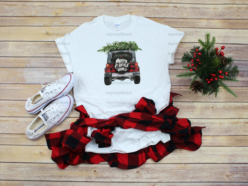 Buffalo Plaid Red Jeep Merry Christmas F | Cotton Transfer