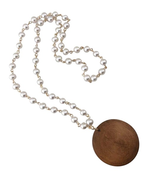 Wooden Round Necklace with Pearl Chain