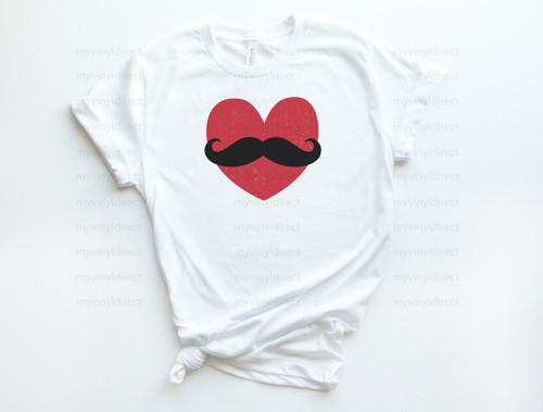Heart Mustache | Cotton Transfer