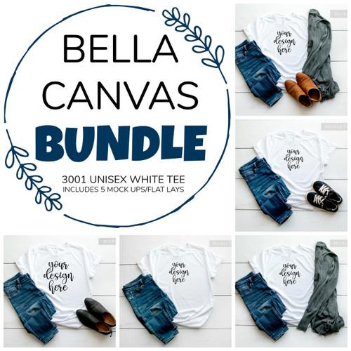 5 BUNDLE Bella Canvas 3001 Unisex White Mock Up/Flat Lays DIGITAL FILES