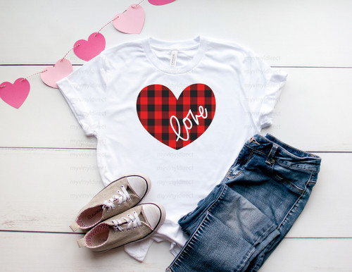 Love Heart Buffalo Check | Cotton Transfer