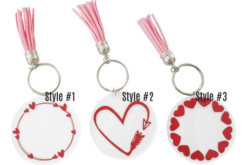 Valentine's Hearts Acrylic Key Chains | 3 Styles