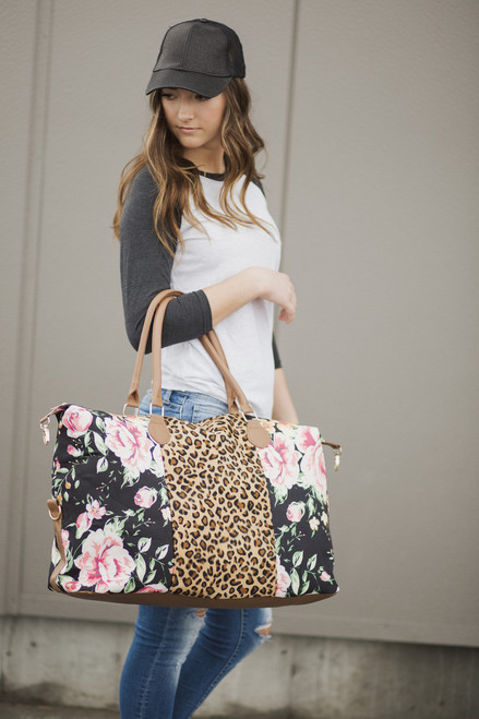 **LIMITED** Weekender Bag | Floral with Cheetah Center