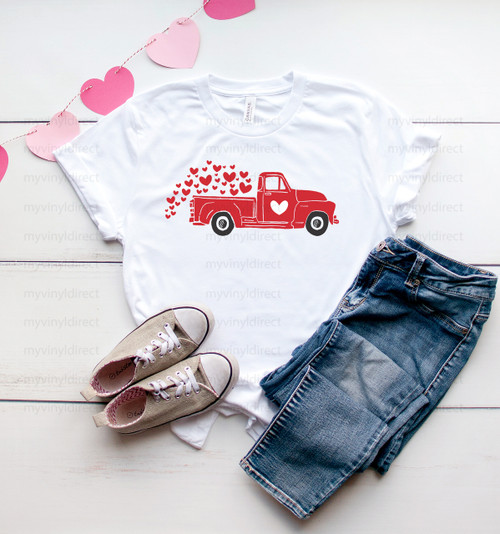 Red Truck & Hearts | Cotton Transfer