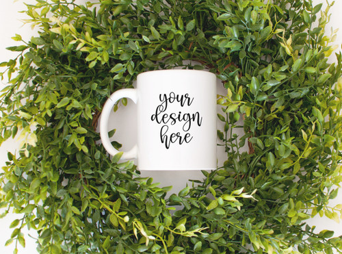 White Coffee Mug 'Greenery' Mock Up