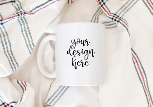 White Coffee Mug | Kitchen Towel | Mock Up