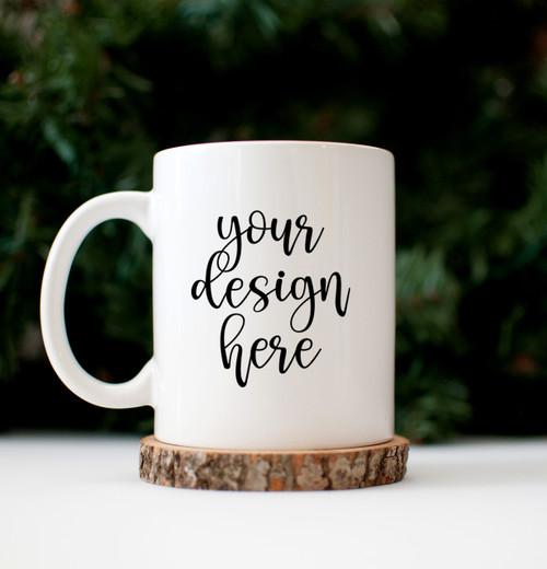 White Coffee Mug | Wood Slice | Mock Up