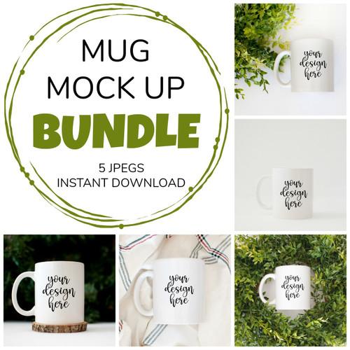 5 White Coffee Mug | Bundle | Mock Ups
