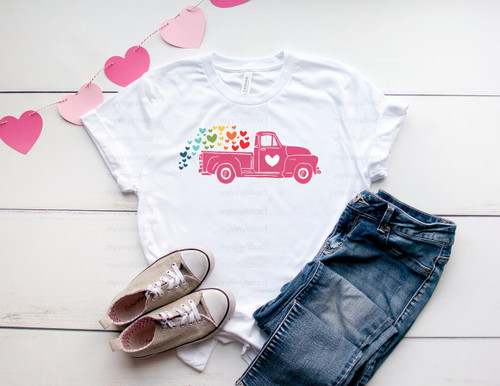 Rainbow Hearts Truck | Cotton Transfer