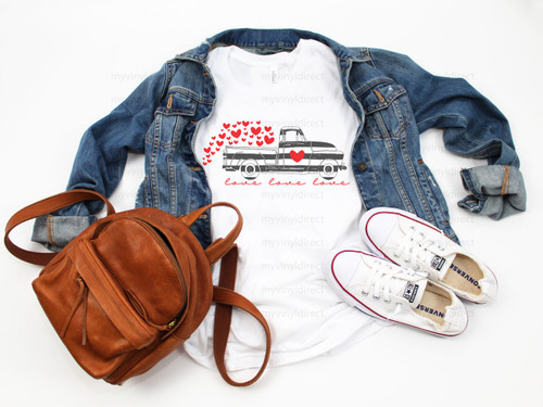 Valentine's Truck with Stripes | Cotton Transfer