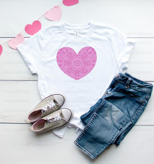 Pink Mandala Heart   Sublimation Transfer