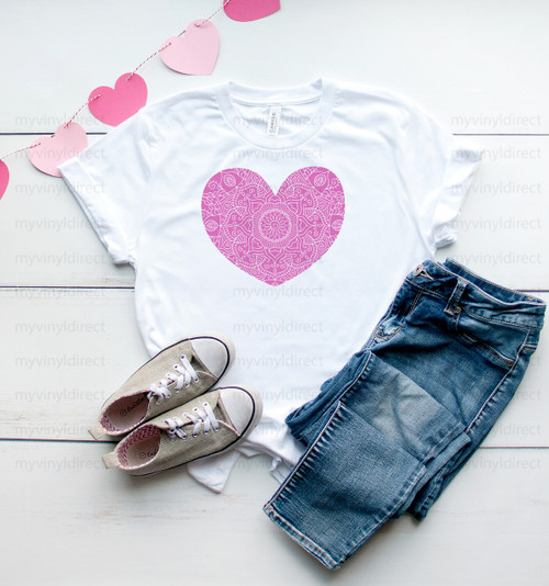 Pink Mandala Heart | Cotton Transfer