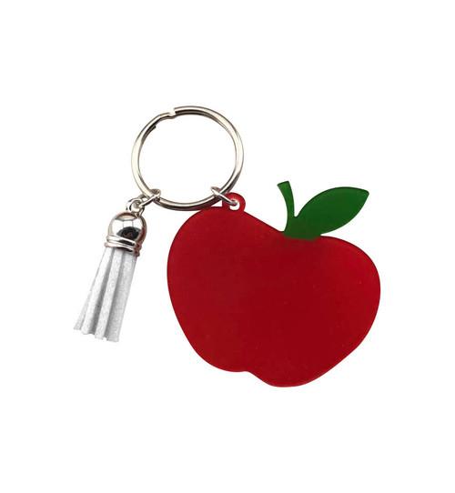 Red Apple & White Tassel Key Chain