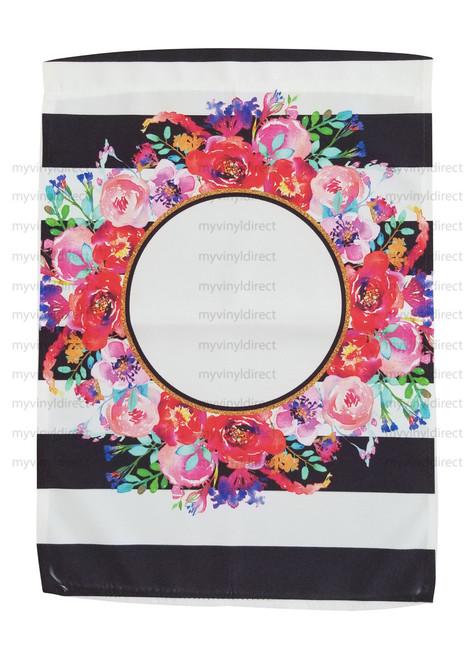 Floral & Stripes Garden Flag