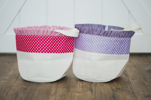 Ruffle Top Polka Dot Easter Bucket Pink & Purple
