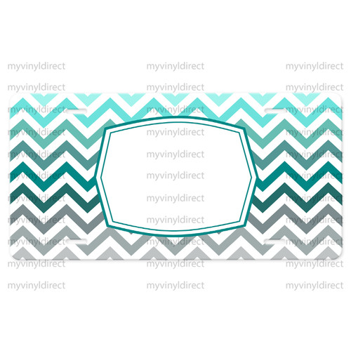 License Plate Car Tag: Chevron Teal Ombre