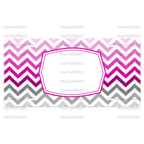License Plate Car Tag: Chevron Pink Ombre