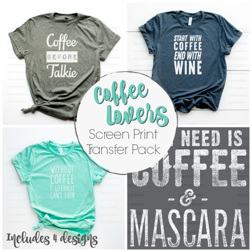 Coffee Lovers 4 PC | Screen Print Transfer Pack