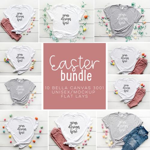 Easter Tee BUNDLE 10 Bella Canvas 3001 Unisex Mock Up/Flat Lays DIGITAL FILES