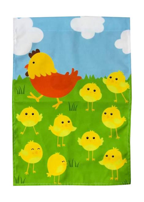 Chicken with Chicks Garden Flag