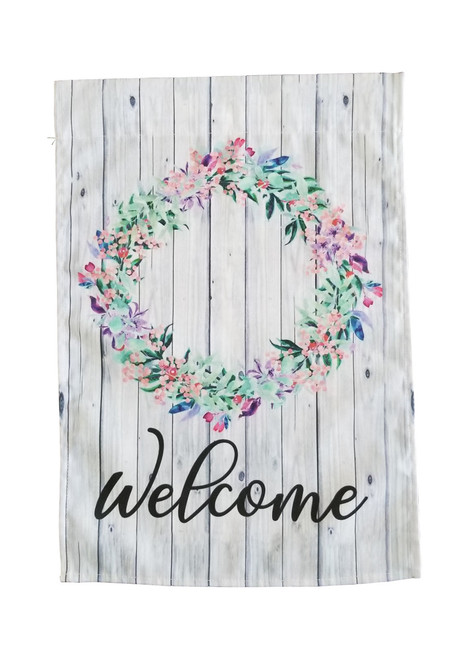 Welcome Floral Wreath Garden Flag
