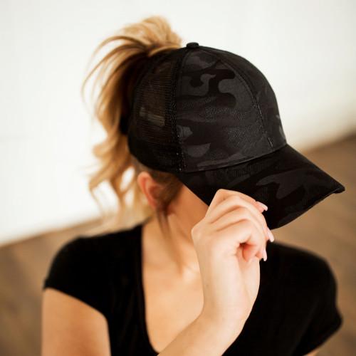 Camo Messy Bun Hat