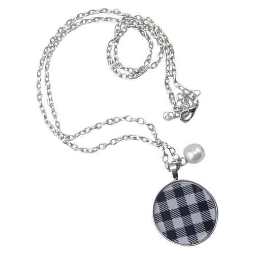 White & Black Plaid Necklace