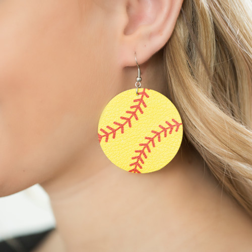 Round Softball Earrings