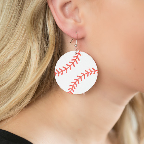 Round Baseball Earrings