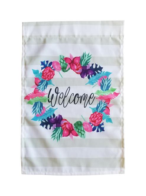 Gray/White Stripe Welcome Wreath Garden Flag