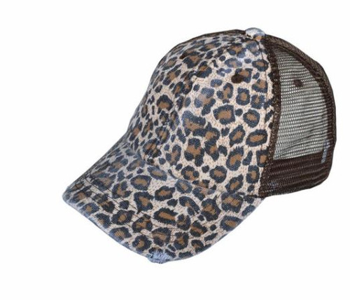 Distressed Leopard Hat | BROWN