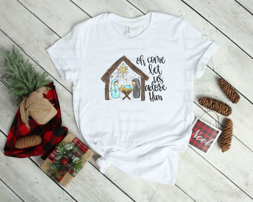 Manger O Come Let Us Adore Him | Cotton Transfer