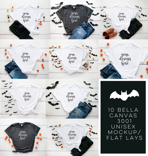 HALLOWEEN Tee BUNDLE 10 Bella Canvas 3001 Unisex Mock Up/Flat Lays DIGITAL FILES