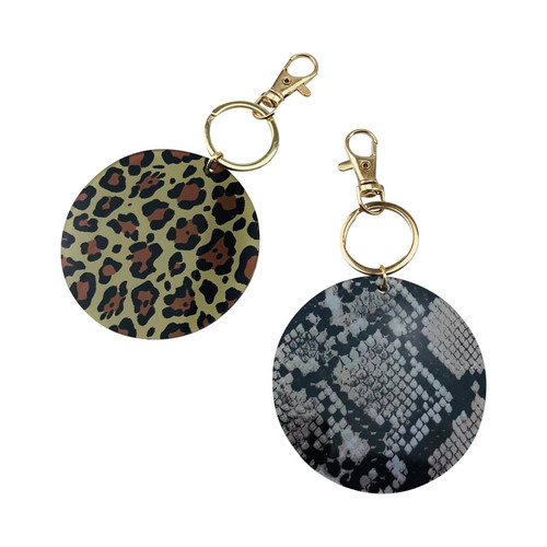 Animal Print Round Acrylic Key Chain Snake and Leopard