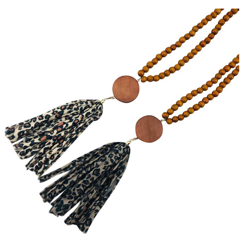 Wood Bead with Fabric Tassel & Disc Necklace