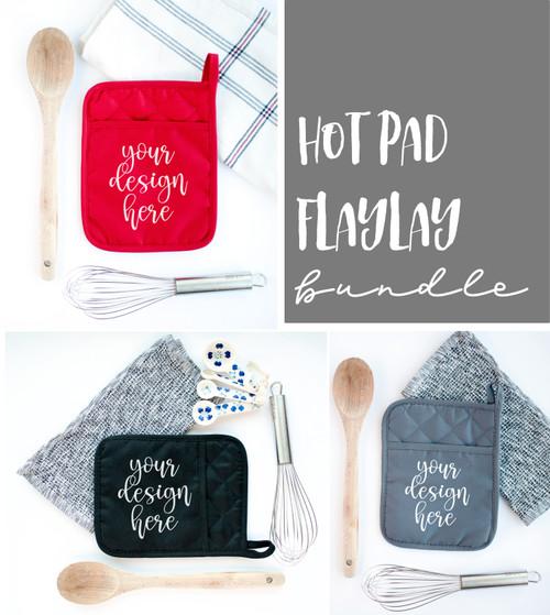 Hot Pad Pot Holder | Mock Ups | Gray Red Black Bundle