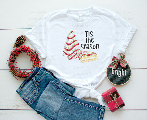 Tis The Season Snack Cakes Red | Cotton Transfer