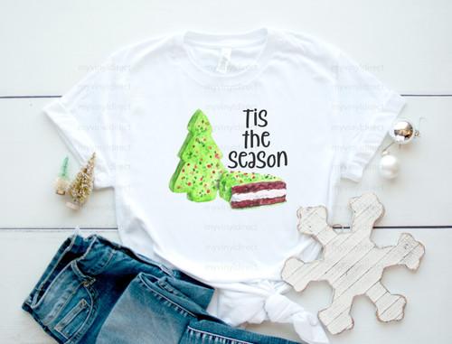Tis The Season Snack Cakes Green | Cotton Transfer