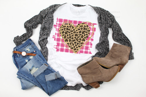 Pink Buffalo Check Leopard Heart | Sublimation Transfer