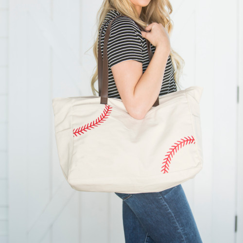 Baseball *Red Laces* Screenprint Tote